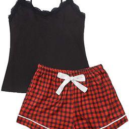 SweatyRocks Women's Sleepwear Set Plaid Print Cami Top and Elastic Waist Short Pajama Set   Amazon (US)