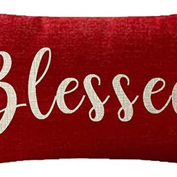 NIDITW Nice Gift Inspirational Blessed Words Waist Lumbar Red Cotton Linen Throw Pillow case Cush...   Amazon (US)
