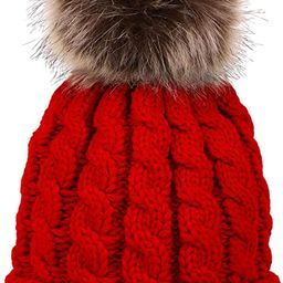 Simplicity Womens Winter Beanies Hand Knit Faux Fur Pompoms Beanie Hats   Amazon (US)