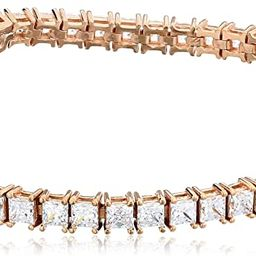 Platinum or Gold Plated Sterling Silver Princess-Cut Tennis Bracelet made with Swarovski Zirconia...   Amazon (US)