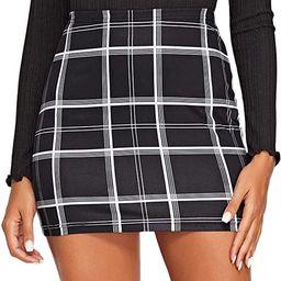 Floerns Women's Stretchy Gingham Plaid Bodycon Mini Skirt   Amazon (US)