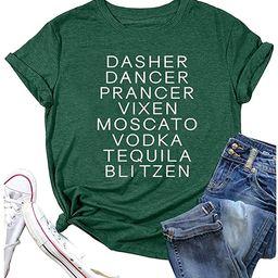 Reindeer Alcohol Christmas Shirts Women Funny Letter Sayings Print T Shirt Xmas Short Sleeve Grap...   Amazon (US)