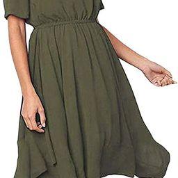 Alaster Women's Chiffon Short Sleeve Casual Midi Dress Irregular Hem Summer Dress   Amazon (US)