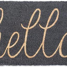 DII Hello Coir Fiber Doormat Non-Slip Durable Outdoor/Indoor, Pet Friendly, 18x30, Gray   Amazon (US)