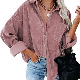 Astylish Womens Corduroy Shirts Casual Long Sleeve Button Down Blouses Tops   Amazon (US)