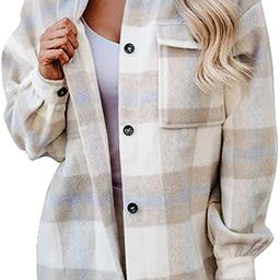 Dokotoo Womens Casual Plaid Button Down Long Sleeve Shirts Flannel Shacket Jacket Coats   Amazon (US)