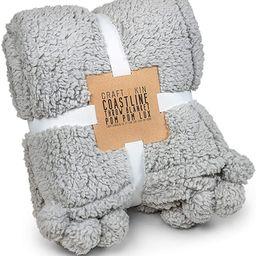 Premium Pom Pom Throw Blanket - Grey Throw Blanket, Plush Blanket, Soft Throw Blanket, Super Soft...   Amazon (US)
