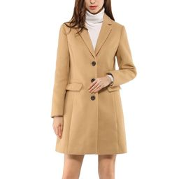 Allegra K Women's Notched Lapel Single Breasted Long Sleeves Winter Overcoat | Walmart (US)