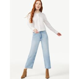 Free Assembly Women's Button-Front Blouse with Blouson Sleeves | Walmart (US)