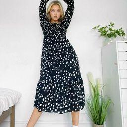 Reclaimed Vintage inspired shirred midi dress in black spot print | ASOS (Global)