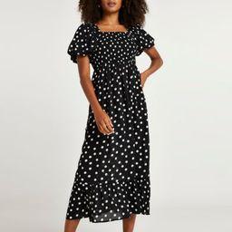 Black spot puff sleeve midi dress | River Island (UK & IE)