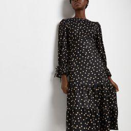 Black polka dot midi dress | River Island (UK & IE)