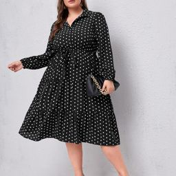 Plus Polka Dot Print Lantern Sleeve Shirt Dress | SHEIN