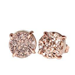 Gold Druzy Gemstone Prong Stud Earring- Real Druzy Rose Gold- 10mm- Women's Jewelry Gift Idea   Amazon (US)