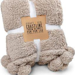 Premium Pom Pom Throw Blanket - Tan Throw Blanket, Plush Blanket, Soft Throw Blanket, Super Soft ...   Amazon (US)
