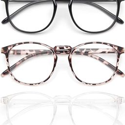 IBOANN 3 Pack Blue Light Blocking Glasses Women/Men, Round Fashion Retro Frame, Vintage Fake Eyeg...   Amazon (US)