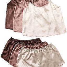 SheIn Women's 3 Sets Satin Pajama Set Sleeveless Crop Cami and Elastic Waist Shorts Sleepwear Lou...   Amazon (US)