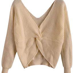 ZAFUL Women's V Neck Twist Back Color Block Sweater Criss Cross Long Batwing Sleeve Knitted Cropp...   Amazon (US)