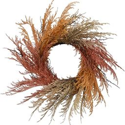 RED DECO Fall Reed Floral Welcome Wreath for Front Door - 22-24 inch Artificial Autumn Rustic Doo...   Amazon (US)