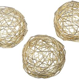 Gold Metal Band Decorative Dining Ball Set of 3 - Geometric Sculptures Dining/Coffee Table Center...   Amazon (US)