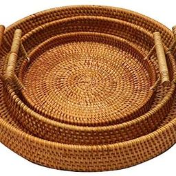 FiaLife Rattan Hand Woven Round Decorative Rustic Serving Wicker Trays with Handles for Home / So...   Amazon (US)
