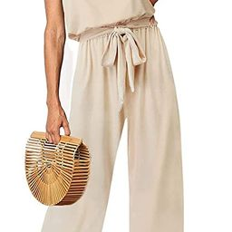 ZESICA Women's Casual Off Shoulder Solid Color Strapless Belted Wide Leg Jumpsuit Romper   Amazon (US)