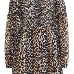 Leopard-print cotton and silk-blend mini dress   The Outnet (UK and Europe)
