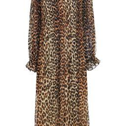 Ruffle-trimmed leopard-print plissé midi dress   The Outnet (UK and Europe)