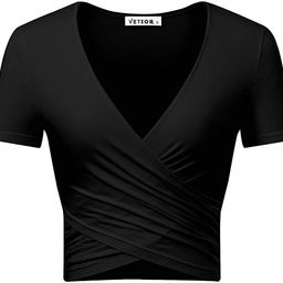VETIOR Women's Deep V Neck Short Sleeve Unique Slim Fit Cross Wrap Shirts Crop Tops | Amazon (US)