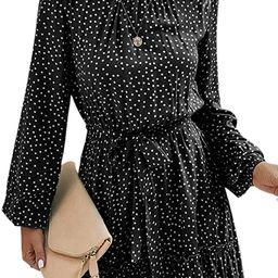 Theenkoln Women's Summer Dresses Floral Print Casual Halter Neck Polka Dot Sleeveless Ruffle Mini... | Amazon (US)