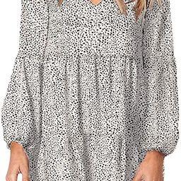 Eytino Women Summer Tunic Dress V Neck Long Sleeve Casual Loose Flowy Swing Shift Dress(S-XL) | Amazon (US)