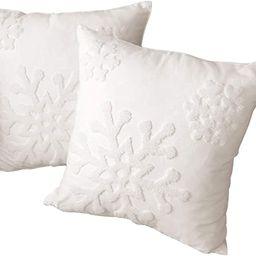 HUAGUOGUO 18 x 18 Inch 2PCs Embroideried Pillowcase,Christmas Holiday Falling Snowflake Cotton ... | Amazon (US)