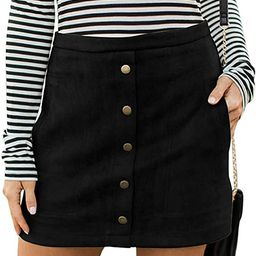 Meyeeka Women's Button Front Faux Suede High Waist A-line Mini Skirt with Pocket | Amazon (US)