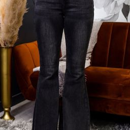 Editorial Moments Black Bell Bottom Jeans - K641BK | Tee for the Soul