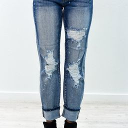 Always In Style Light Denim Distressed Jeans - K422DN | Tee for the Soul