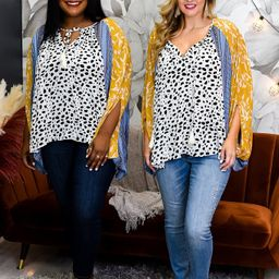 Stay Positive Mustard/Multi Color/Patterns Peekaboo Top - T1393MU | Tee for the Soul