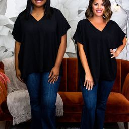 Do Everything In Love Black Solid V Neck Top - T1247BK | Tee for the Soul