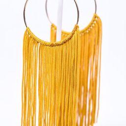 Long Dark Mustard Tassel Gold Hoop Earrings - EAR3078DMS | Tee for the Soul