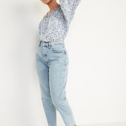 Extra High-Waisted Button-Fly Curvy Sky-Hi Straight Cut-Off Jeans for Women | Old Navy (US)