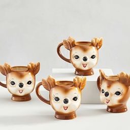Cheeky Reindeer Shaped Handcrafted Ceramic Mugs | Pottery Barn (US)