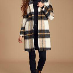 Cher Ivory Plaid Brushed Wool Coat | Lulus (US)