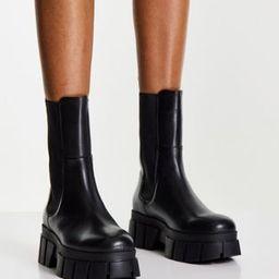 ASOS DESIGN Adjust premium leather chunky chelsea boots in black   ASOS (Global)