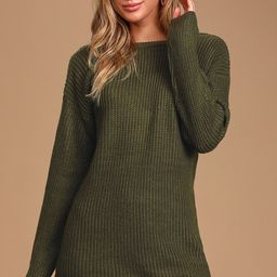 Bringing Sexy Back Olive Green Backless Sweater Dress   Lulus (US)