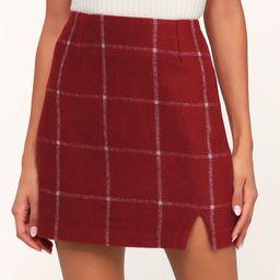 Spence Wine Red Plaid Mini Skirt   Lulus (US)