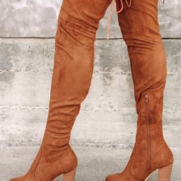 So Much Yes Chestnut Suede Over the Knee Boots   Lulus (US)
