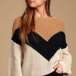 Autumn Leaves Tan Multi Chevron Stripe Knit Sweater   Lulus (US)