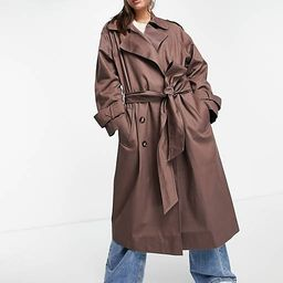ASOS DESIGN oversized trench coat in dark brown | ASOS (Global)