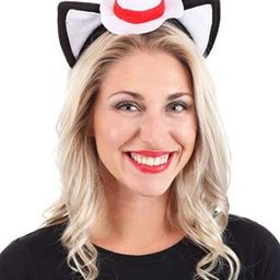 Dr. Seuss Cat in The Hat Costume Ears Headband with Stovepipe Hat Black | Amazon (US)