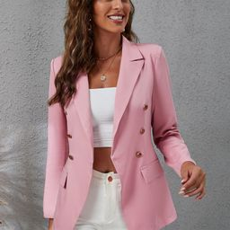 Lapel Collar Double Breasted Flap Detail Blazer   SHEIN