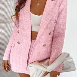 Double Button Tweed Blazer   SHEIN